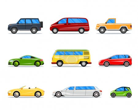 Vector car icons in flat