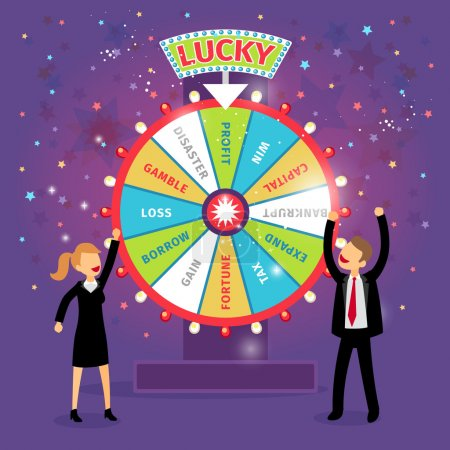 Illustration for Vector financial wheel of fortune. Business concept. Chance and risk, gamble and profit, tax and gain, borrow and loss, disaster and capital - Royalty Free Image