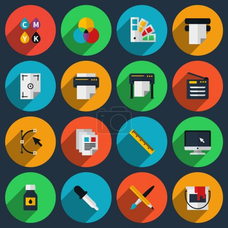 Illustration for Flat color printing icons set. Bezier curve, pipette and monitor, production and spectrum, gamma and tool. Vector illustration - Royalty Free Image