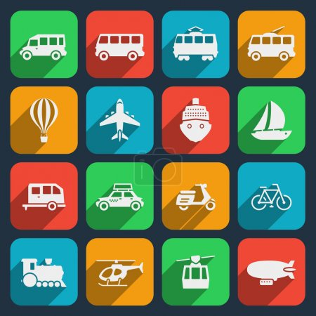 Photo for Transport icons set. Taxi and train, motorcycle and moped, boat and airplane, helicopter and bicycle. Vector illustration - Royalty Free Image