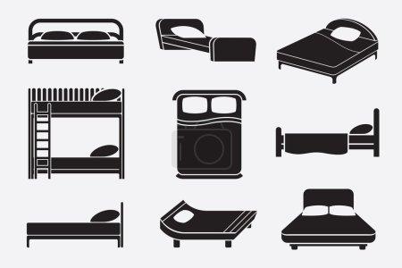 Illustration pour Ensemble d'icônes de lit. Meubles de chambre à coucher, matelas et service de détente, illustration de vecteur - image libre de droit