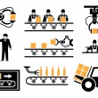 Manufacturing process or production icons set. Ind...
