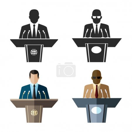 Speaker or orator icon in black and flat style