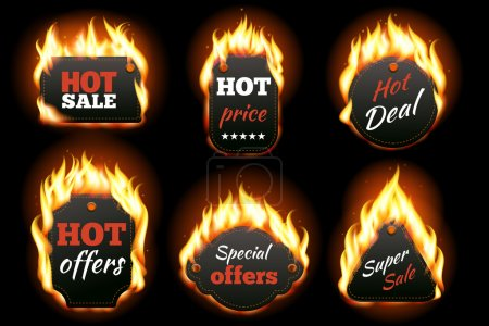 Illustration for Vector fire labels set. Price and sale, deal and offer, special tag or badge, business promotion. Vector illustration - Royalty Free Image