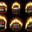 Vector fire labels set. Price and sale, deal and o...