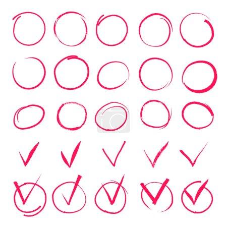 Set of hand drawn highlight red circles and check mark icons