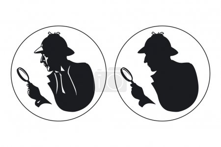 Illustration for Detective vector silhouette. Man in hat, agent spy, private and mysterious, human inspector - Royalty Free Image