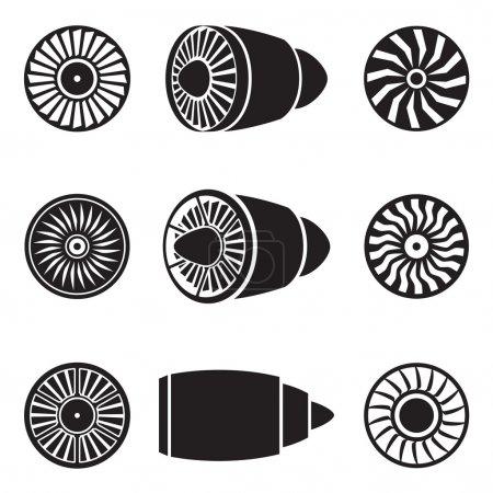 Illustration pour Turbines icônes réglées. Avion technologique, puissance du moteur, pale et ventilateur. Illustration vectorielle - image libre de droit