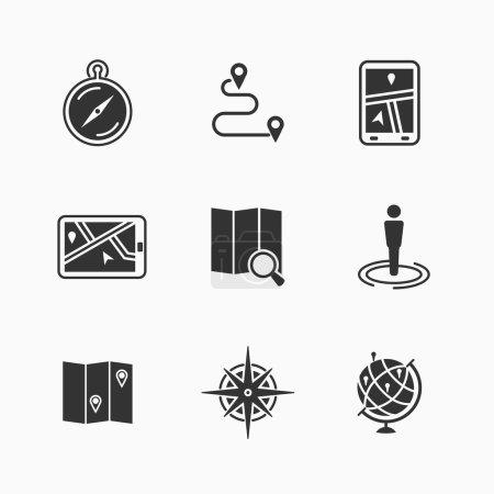 Carte icônes ensemble