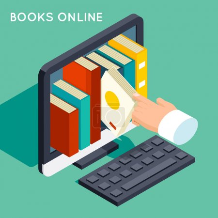 Illustration for Books online library isometric 3d flat concept. Internet knowledge, web online, study technology, computer screen, vector illustration - Royalty Free Image