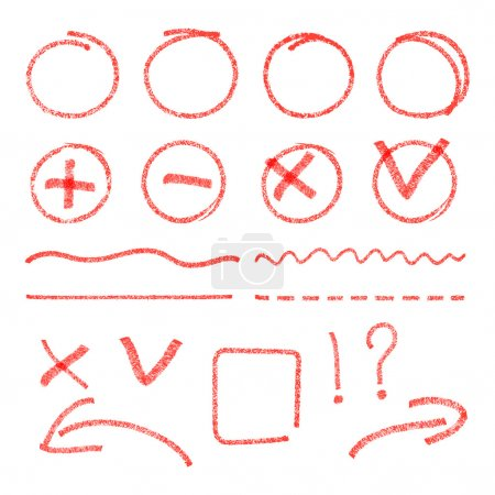 Vector red highlight elements. Circles, arrows, check marks, cross signs and lines