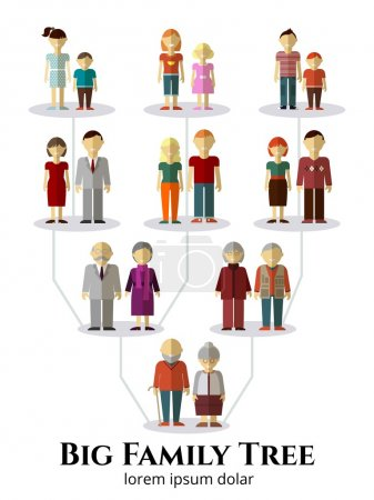 Family tree with people avatars of four generations flat vector illustration