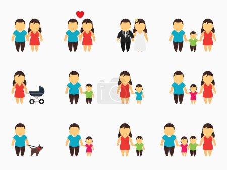 Illustration pour Ensemble d'icônes familiales plates. Enfant et père, fils et mère, garçon et jeune homme, fille et amour. Illustration vectorielle - image libre de droit
