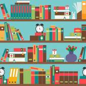 Bookshelf with books in flat style seamless pattern