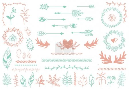 Ethnic tribal boho elements. Arrows and feathers, dividers borders
