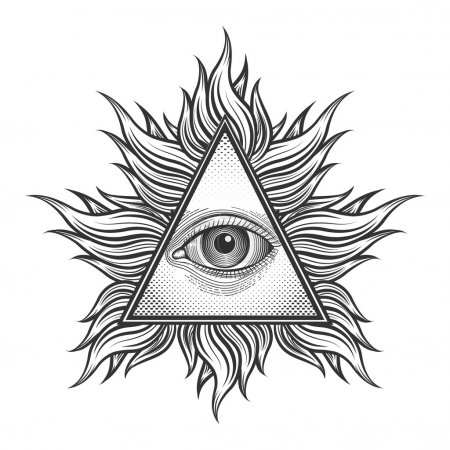 All seeing eye pyramid symbol in the engraving tattoo style