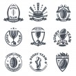 Rugby team vector badges and logos. Sport football...