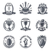 Rugby team vector badges and logos Sport football emblem ball illustration
