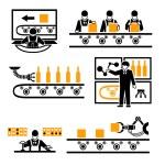 Factory production process icons set. Technology m...