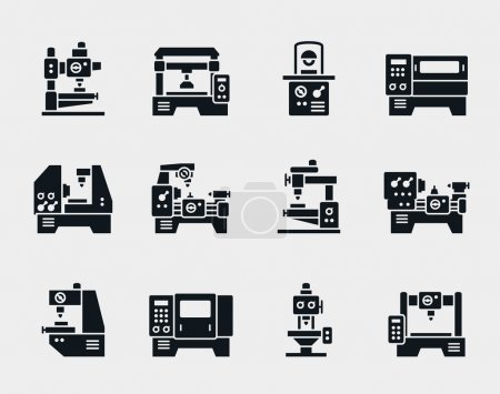 Illustration for Vector machine tool icons set. Work and factory, production industrial technology, equipment construction illustration - Royalty Free Image