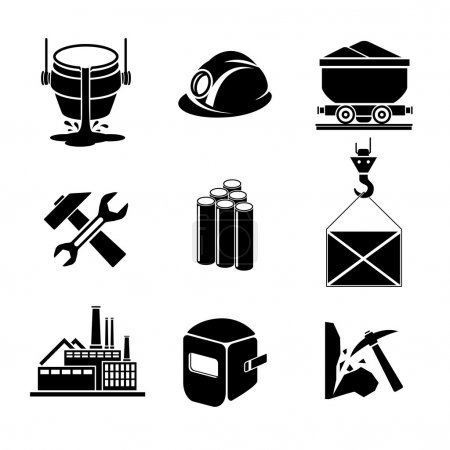 Heavy industry or metallurgy icons set