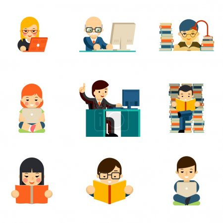 Illustration for People working on computer. Work person businessman, laptop communication, read and education. Vector illustration - Royalty Free Image