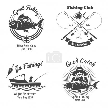 Fishing logo and emblems vintage vector set