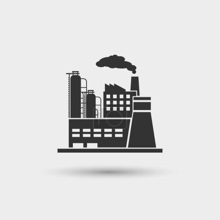 Illustration pour Icône usine industrielle. Usine puissance de l'industrie, station de fabrication d'énergie, illustration vectorielle - image libre de droit