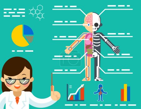 Illustration for Medical concept. Doctor woman showing anatomy. Science healthcare, human body, education biology skeleton, vector illustration - Royalty Free Image