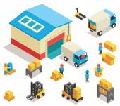Isometric factory distribution warehouse building with trucks electric trolleys and goods Vector 3d icons set