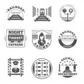 Vector set of railway emblem Railroad labels or logos