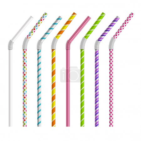 Color drinking straws vector set
