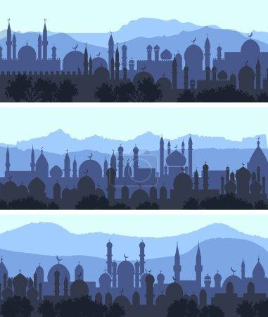 Cityscape arab city banners