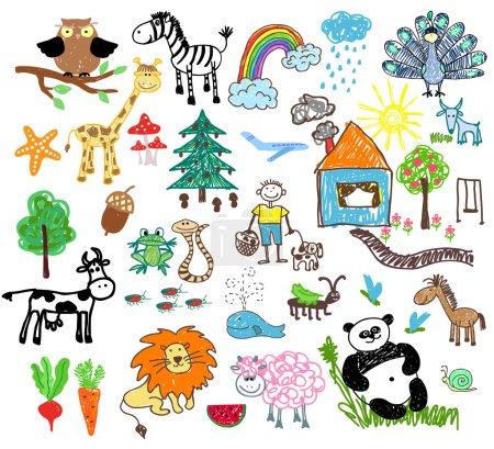 Illustration pour Dessins d'enfants de personnes et d'animaux, de maisons et d'arbres - image libre de droit