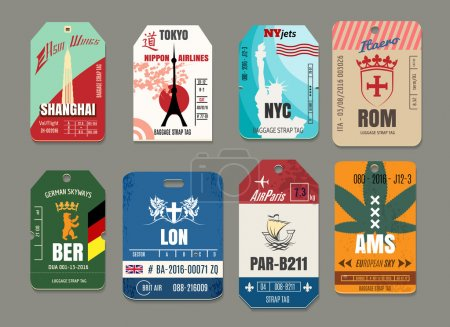 Illustration for Vintage baggage or luggage vector paper tags set. Rome and tokyo, new york and shanghai, amsterdam and berlin, paris and london illustration - Royalty Free Image