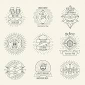 Hipster style handmade beer and craft brewery logo or emblems vintage vector set