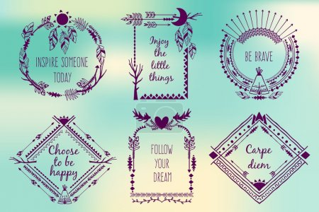 Hand drawn boho style frames with place for your text