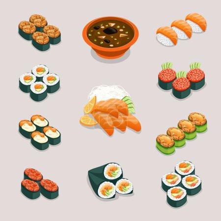 Illustration pour Asie icônes de la nourriture. Rouleaux et sushis, soupe miso et sashimi. Restaurant et menu savoureux, nutrition japonaise ou chinoise, illustration vectorielle - image libre de droit