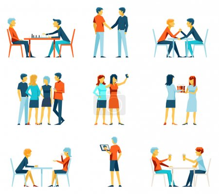 Illustration for Friendship and brotherhood flat vector icons set. Friends and friendly relationship symbols. Social pastime, person and society illustration - Royalty Free Image