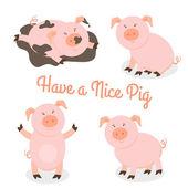 Cute happy cartoon pigs vector set Mammal and funny pet vector illustration