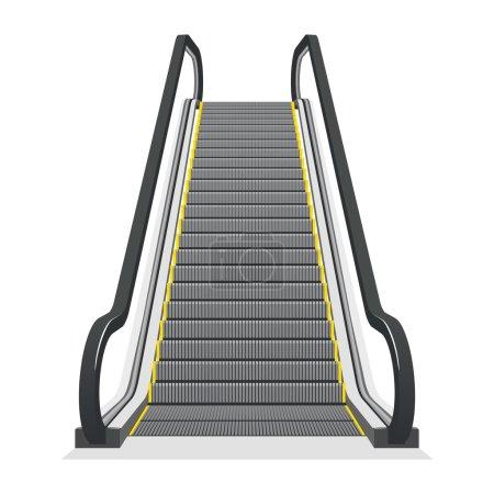 Escalator isolated on white background. Modern arc...