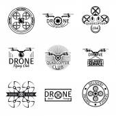 Aerial drone flying club labels badges and logos vector set Transport technology quadrocopter air flight illustration