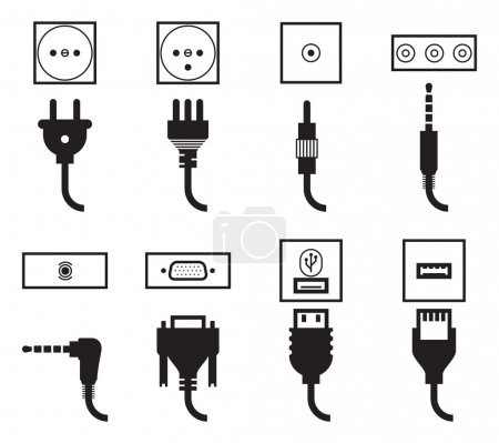 Illustration for Electric outlet and plug icons set. Energy socket, jack video connector, usb and audio standard, wire connect, vector illustration - Royalty Free Image