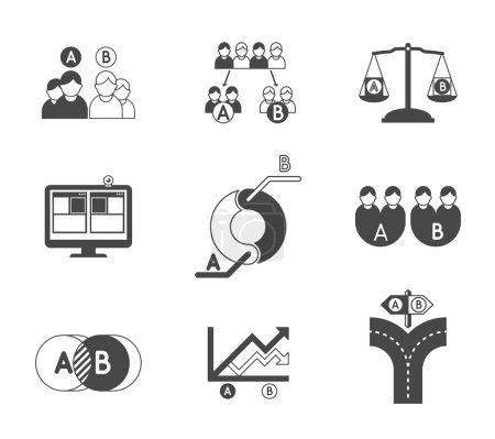 Split testing A and B black icons