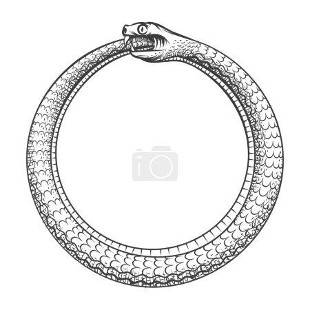Illustration pour Symbole magique d'Ouroboros. Tatouage avec serpent mordre sa propre queue. Animal et infinité, mythologie et serpent, illustration vectorielle - image libre de droit