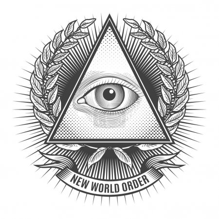 Illustration for All seeing eye in delta triangle. Pyramid and freemasonry icon, new world order emblem, vector illustration - Royalty Free Image