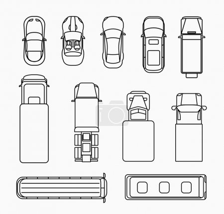 Illustration for Set of cars thin line icons top view. Transportation and traffic, transport and automobile flat design. Vector illustration - Royalty Free Image