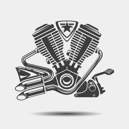 Car engine or motorbike motor black icon
