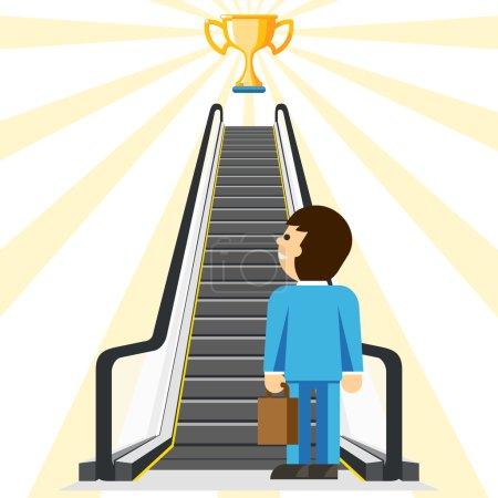 Illustration pour Conseil aux entreprises. Confortable façon de réussir. But et tasse, réalisation et escalier, confort d'étape, ascenseur d'homme d'affaires, illustration de vecteur - image libre de droit