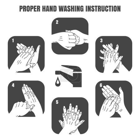 Proper hand washing instruction black vector icons set